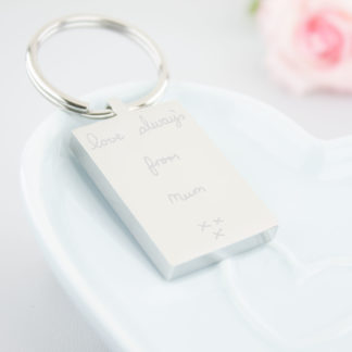 personalised-stainless-steel-engraved-hand-written-rectangle-keyring-memorial-handwriting