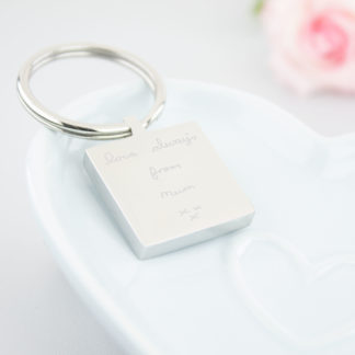 personalised-stainless-steel-engraved-hand-written-square-keyring-memorial-handwriting